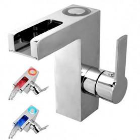 SCHÜTTE Robinet mitigeur lavabo - LED - Bec cascad