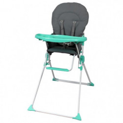 BAMBIKID Chaise Haute Fixe Gris Vert Anis