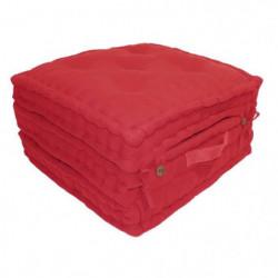 Coussin de sol 3 plis 100% coton 60x60x180 cm - Rouge