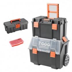 TOOD Lot Servante sur trolley 2 en 1 avec boite a outils